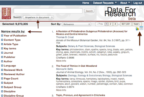 first screen of JSTOR Data for Research