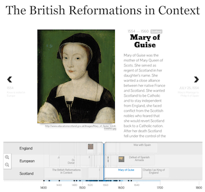 Screenshot of British Reformations in Context timeline
