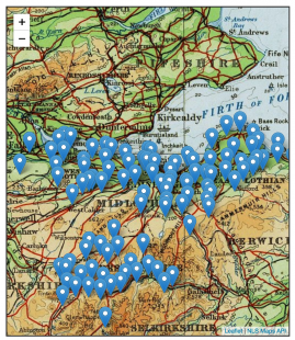 Historic map of Scotland with blue pins to represent clergy.