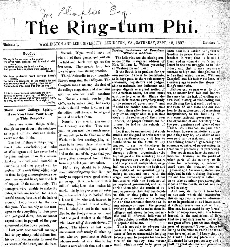 Front page of Ring-tum Phi newspaper