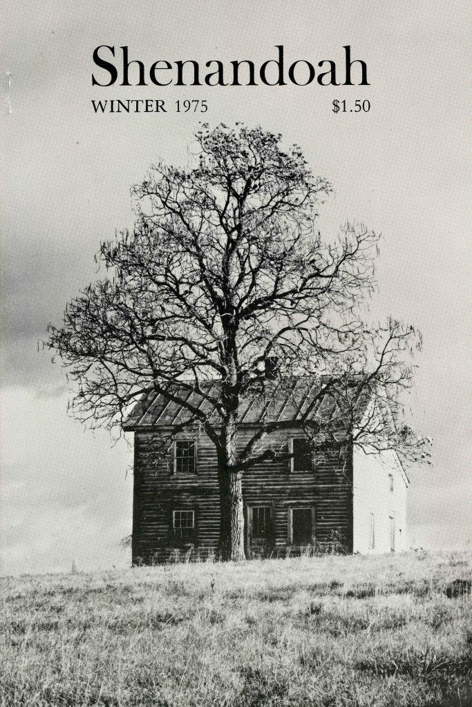 Cover of Shenandoah magazine from Winter 1975. Black and white image of tree in front of abandoned house.